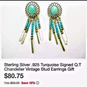 GenuineQ.T. Ster. Silver Inlaid Turquoise Earrings
